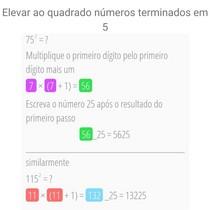 Elevar ao quadrado números terminados em 5