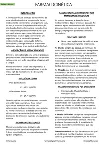 Farmacologia Veterinária - Farmacocinética