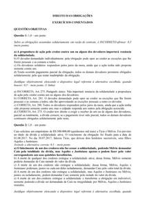 Exercícios comentados Direito das Obrigações - Parte 6