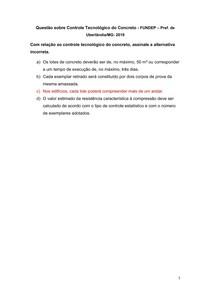 Questão sobre Controle Tecnológico do Concreto - FUNDEP Pref de Uberlândia-MG- 2019