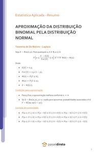 Aproximação da distribuição Binomial pela Normal - Resumo