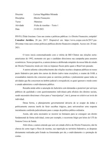 Fichamento - Caos nas contas e políticas públicas. PINTO, Élida Graziane.