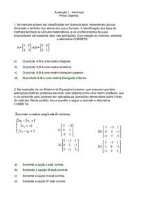 Avaliação I   Individual Álgebra Linear
