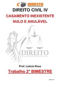 Direito Civil IV (Casamento Inexistente, Nulo e Anulável) Trabalho 2º Bim