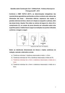 Questão sobre Construção Civil - CONSULPLAN Prefeitura Municipal de Pintangueiras-SP 2019