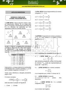 Lista de exercícios - Números complexos (Forma trigonométrica)