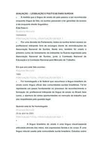 AVALIAÇÃO LEGISLAÇÃO E POLÍTICAS PARA SURDOS