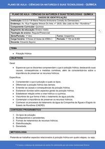 Plano de Aula - Poluição Hídrica - Ciências da natureza e suas tecnologias - Química (1° Ano) - Plano de aula