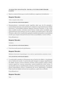 AVALIAÇÃO CAPACITAÇÃO ESCOLA, CULTURA E IDENTIDADE- FAVENI