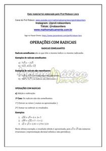 RADICIAÇÃO AULA 8 - AOMA E SUBTRAÇÃO COM RADICAIS - PROF ROBSON LIERS