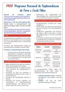 PNSF: PROGRAMA NACIONAL DE SUPLEMENTAÇÃO DE FERRO E ACIDO FOLICO
