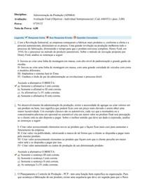 Avaliação Final (Objetiva) - Administração da Produção (ADM64)