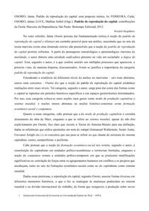 Padrão de Reprodução do Capital: uma proposta teórica - Resenha texto Jaime Osorio