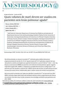 (2007) Quais volumes de maré devem ser usados   em pacientes sem lesão pulmonar aguda    Anestesiologia   Publicações ASA