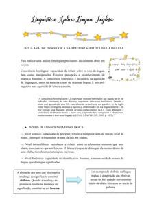 Linguística Aplica Língua Inglesa UNIT 1