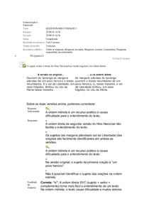 Comunicação e Expressão QUESTIONÁRIO UNIDADE I