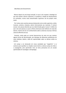 antropologia clássica, texto Idéia Básica de Etnocentrismo