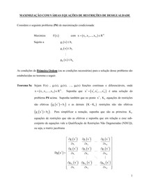 Otimização com Varias Equações de Restrições de Desigualdade