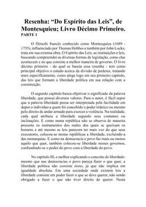 Resenha - Do Espírito das Leis - Montesquieu - Livro XI (parte1)