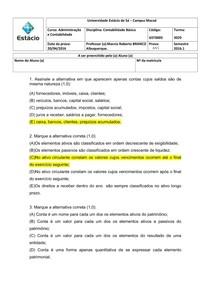 AV1 - Contabilidade Básica GST0005 - 2016.1 Marcio Albuquerque (Gabarito)