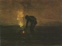Vincent Willem van Gogh-Camponesa-Burning-Weeds