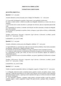 Exercícios comentados Direito das Obrigações - Parte 2