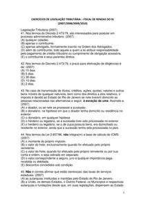 EXERCICIOS DE LEGISLAÇAO TRIBUTARIA COM GABARITO