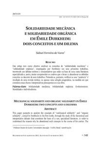 SOLIDARIEDADE MECÂNICA E SOLIDARIEDADE ORGÂNICA EM ÉMILE DURKH