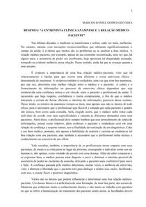 A ENTREVISTA CLÍNICA/ANAMNESE E A RELAÇÃO MÉDICO-PACIENTE