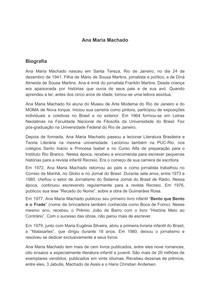 Biografia e obras de Ana Maria Machado