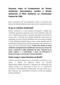 Resumo sobre os Fundamentos do Direito Ambiental, Hermenêutica Jurídica e Direito Ambiental, O Meio Ambiente na Constituição Federal de 1988
