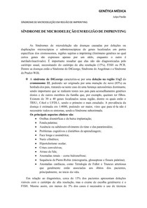 SÍNDROME DE MICRODELEÇÃO EM REGIÃO DE IMPRINTING