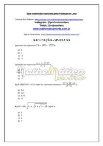 RADICIAÇÃO AULA 7 - SIMULADO - PROF ROBSON LIERS