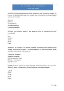 Lista de exercícios - Forças intermoleculares - Químicas - Questões de vestibulares (com gabarito)