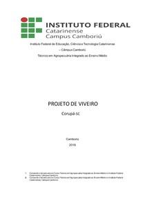 PROJETO DE VIVEIRO- Silvicultura-Agricultura