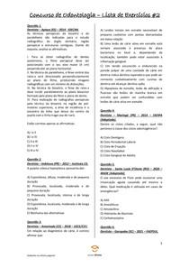 Concurso Público de Odontologia - 10 Questões com Gabarito - Lista de Exercícios #2