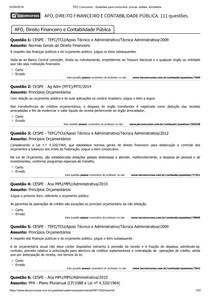 AFO, DIREITO FINANCEIRO E CONTABILIDADE PÚBLICA. 111 questões MP