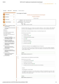 Respostas Questionário AVA AULA TEMA 1 - Tecnologias de Gestão