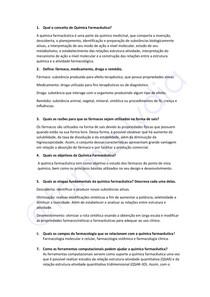 Questionário - Introdução a Química Farmacêutica