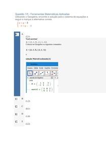 APOL 02, Ferramentas Matemáticas Aplicadas
