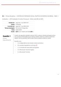 AP3 1 Avaliação Formativa Processual - Online (vale 40% da MAP)