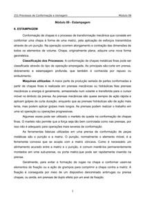 Processos de Conformação e Usinagem(Unip) - Modulo 6 - Estampagem