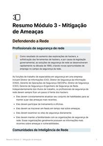 Resumo Módulo 3 - Mitigação de Ameaças - Segurança de Rede CISCO