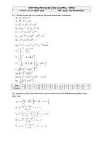 Tabela de Cálculo A