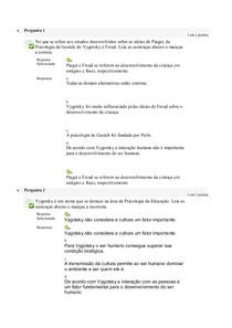 PSICOLOGIA E EDUCAÇÃO - Avaliação On-Line 5 (AOL 5) - Questionário - EAD