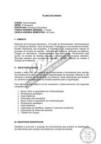 Ementa e Conteúdo Programático - Processos Decisórios