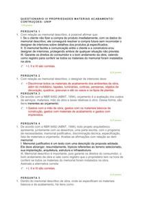 Questionário IV propriedades materiais acabamento/ construções