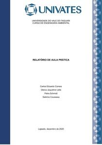 Relatório Aula Prática Recursos Naturais e Energia