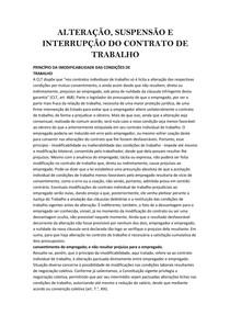 ALTERAÇÃO, SUSPENSÃO E INTERRUPÇÃO DO CONTRATO DE TRABALHO