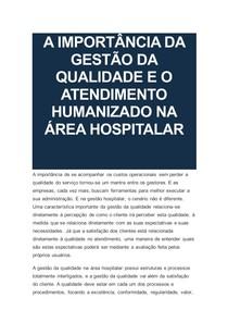 A IMPORTÂNCIA DA GESTÃO DA QUALIDADE E O ATENDIMENTO HUMANIZADO NA ÁREA HOSPITALAR